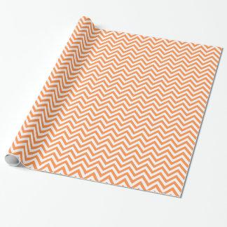 Orange and White Zigzag Stripes Chevron Pattern Wrapping Paper