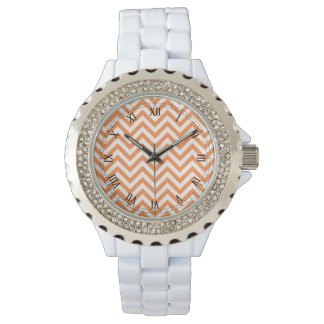 Orange and White Zigzag Stripes Chevron Pattern Wrist Watches