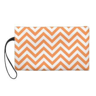 Orange and White Zigzag Stripes Chevron Pattern Wristlet