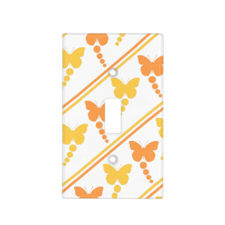 Orange and Yellow Butterflies, Dots, Stripes Print Light Switch Cover