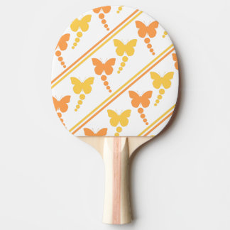 Orange and Yellow Butterflies, Dots, Stripes Print Ping Pong Paddle