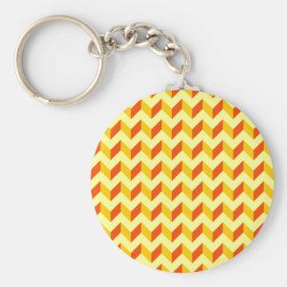 Orange and Yellow Chevron Patchwork Pattern Basic Round Button Keychain
