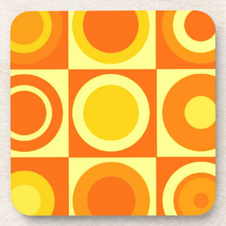 Orange and Yellow Circle Square Pattern Gifts Drink Coaster