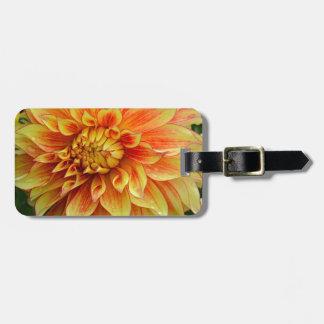 Orange and yellow dahlia flower bag tag