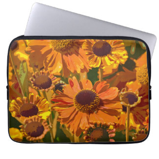 Orange and yellow echinacea flowers laptop sleeve