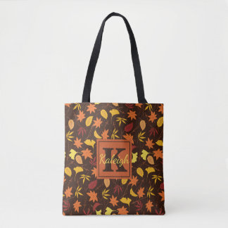 Orange and Yellow Fall Leaves Monogram Tote