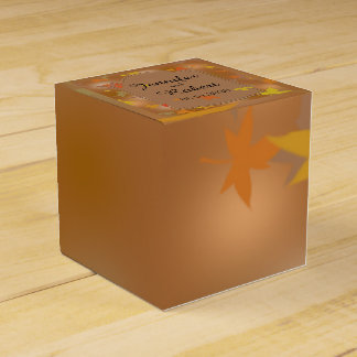 Orange and Yellow Fall Leaves Wedding Favor Box