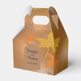 Orange and Yellow Fall Leaves Wedding Favor Box