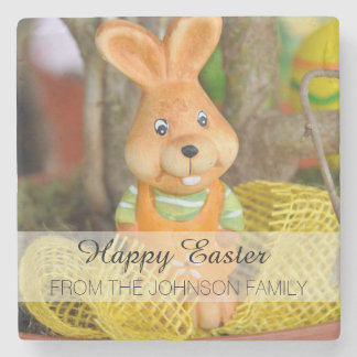 Orange and Yellow Family Happy Easter Bunny Rabbit Stone Coaster