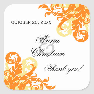 Orange and Yellow Flourish Autumn Wedding Favor Square Sticker