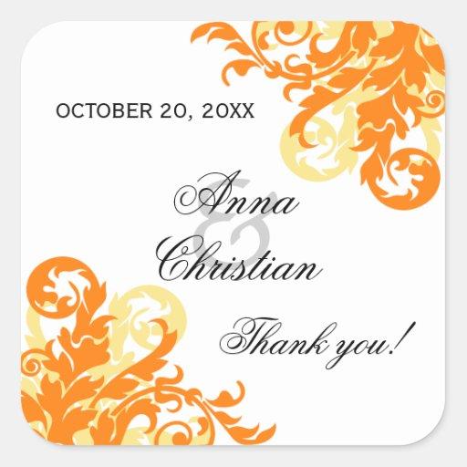 Orange and Yellow Flourish Autumn Wedding Favor Square Stickers