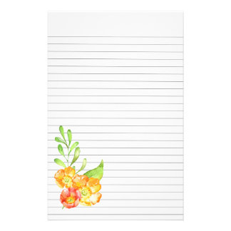 Orange and Yellow Flowers Lower Left Lined Paper
