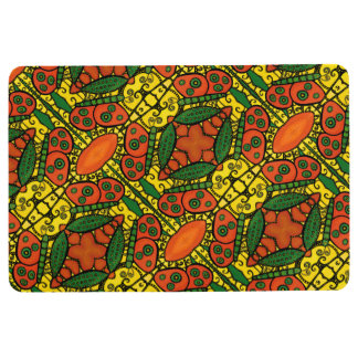 Orange And Yellow Green Butterfly Pattern Floor Mat