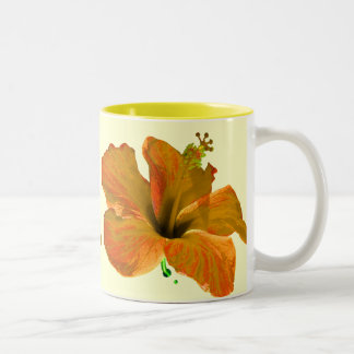 Orange and Yellow Hibiscus Two-Tone Coffee Mug