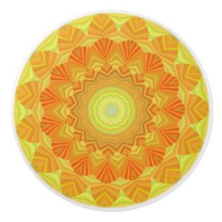 Orange And Yellow Kaleidoscope Ceramic Knob