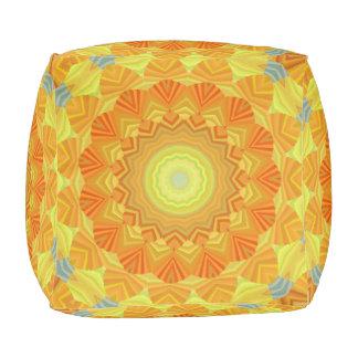Orange And Yellow Kaleidoscope Pouf