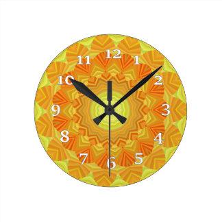 Orange And Yellow Kaleidoscope Round Clock