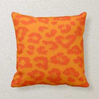 Orange and Yellow Leopard Print Fur Throw Pillow