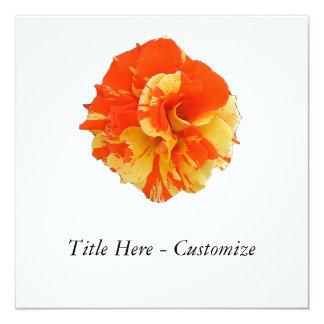 "Orange and Yellow Rose 5.25"" Square Invitation Card"
