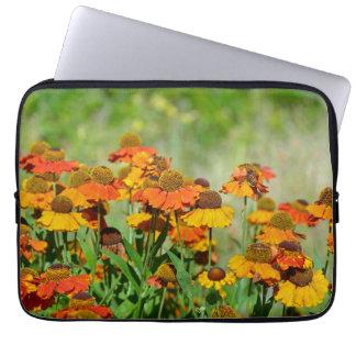 Orange and yellow rudbeckia flowers laptop sleeve