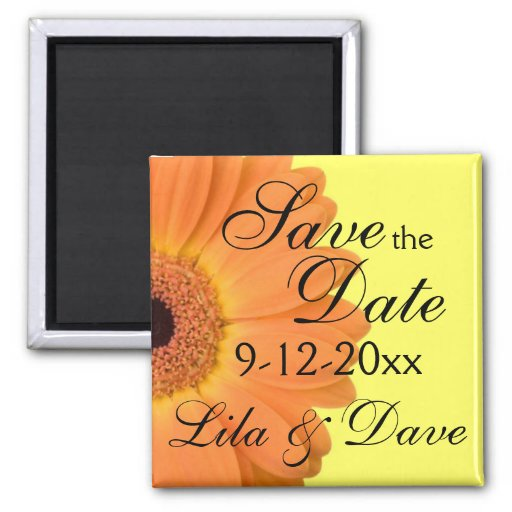 Orange and Yellow Save the Date Magnet Refrigerator Magnets