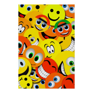 ORANGE AND YELLOW SMILEY FACES COLLAGE POSTER