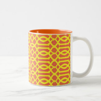 ORANGE and YELLOW TRELLIS LATTICE PATTERN Two-Tone Coffee Mug