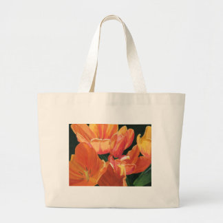 Orange and Yellow Tulips Large Tote Bag