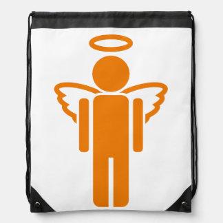 Orange angel cartoon drawstring bag