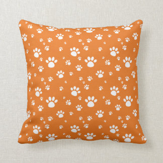 Orange Animal Paw Prints Pattern Throw Pillow