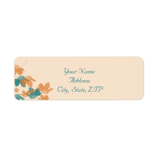 Orange Aqua Autumn Maple Leaf Return Address