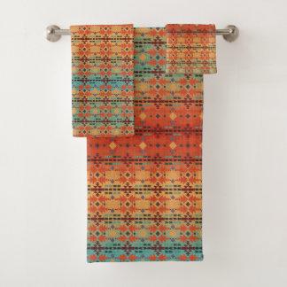 Orange, Aqua Ombre   Southwestern Style Bath Towel Set