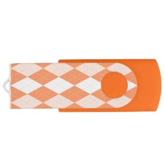 Orange Argyle Pastel Tangerine Small Diamond Shape Swivel USB 3.0 Flash Drive