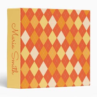 Orange argyle pattern 3 ring binders