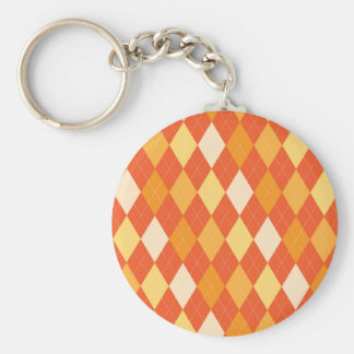 Orange argyle pattern basic round button keychain