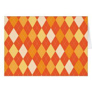 Orange argyle pattern card