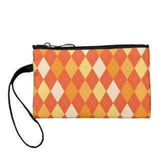 Orange argyle pattern coin wallet