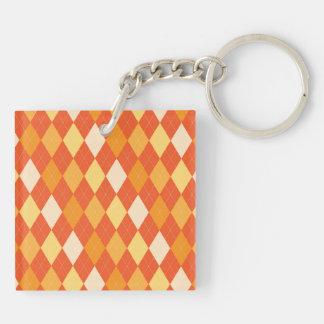 Orange argyle pattern Double-Sided square acrylic keychain