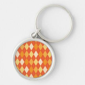 Orange argyle pattern Silver-Colored round keychain
