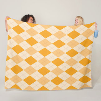 Orange Argyle Preppy Checkered pattern print Fleece Blanket