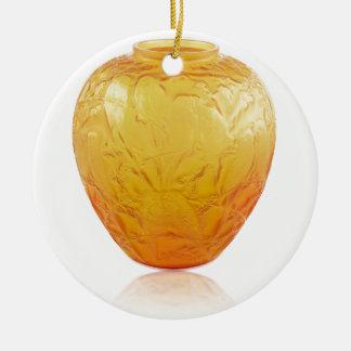 Orange Art Deco glass vase with bird design. Ceramic Ornament