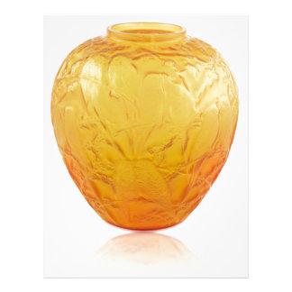 Orange Art Deco glass vase with bird design. Letterhead