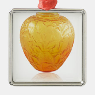 Orange Art Deco glass vase with bird design. Metal Ornament