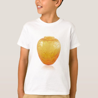 Orange Art Deco glass vase with bird design. T-Shirt