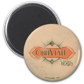 Orange Art Deco Obliviate Spell Graphic 2 Inch Round Magnet