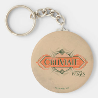 Orange Art Deco Obliviate Spell Graphic Basic Round Button Keychain