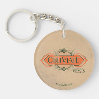 Orange Art Deco Obliviate Spell Graphic Double-Sided Round Acrylic Keychain