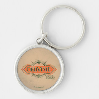 Orange Art Deco Obliviate Spell Graphic Silver-Colored Round Keychain