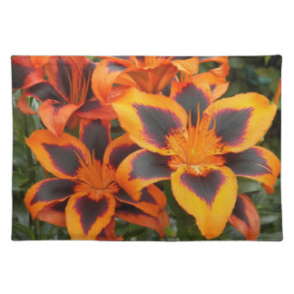 Orange Asiatic Lilies Floral Cloth Placemat