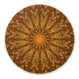 Orange Autumn Foliage Mandala Ceramic Knob